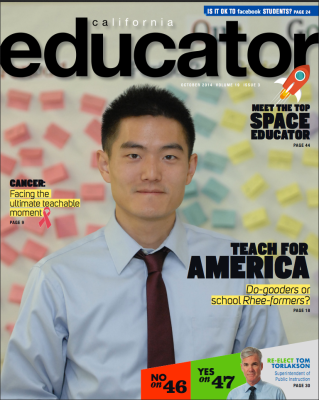 The October issue of California Educator, featuring TFA alum and former SJTA Secretary-Treasurer Clinton Loo on the cover.