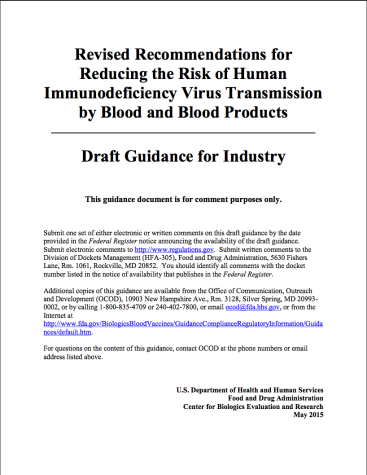 FDA Blood Ban Proposal