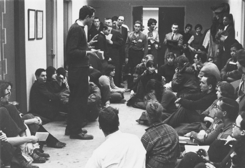 A 20-year-old Bernie Sanders helps organize a protest of housing segregation in properties owned by the University of Chicago in the 1960s (via https://berniesanders.com/timeline/1960s/).