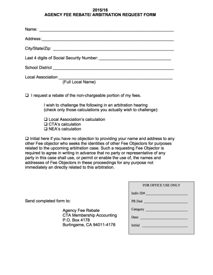 Teachers who want a rebate for the political portion of their dues can fill out this simple one-page form.